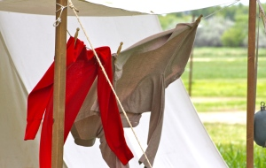 Union Suit underwear pegged to camp clothesline