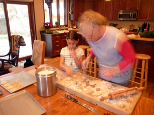 Elena Grace and Grandy baking Christmas cookies