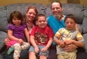 Keoni & me in California this month with our three oldest grandkids: Annalia, Keoni, & Leland