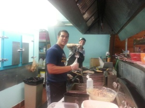 My husband Keoni & our son Kapena, working together in our restaurant kitchen
