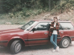 "leaning on my original ""Scubaru"" by Lake Pend Orielle in northern Idaho,1993"