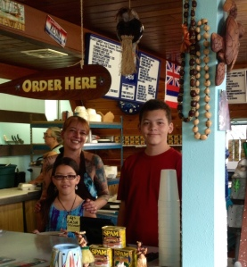 with kids at our restaurant counter... Notice the relative heights!