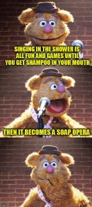Fozzie Bear : Singing in the Shower is all fun and games until you get shampoo in your mouth. Then it becomes a soap opera.