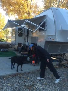 Teresa & her dog Walter at their RV