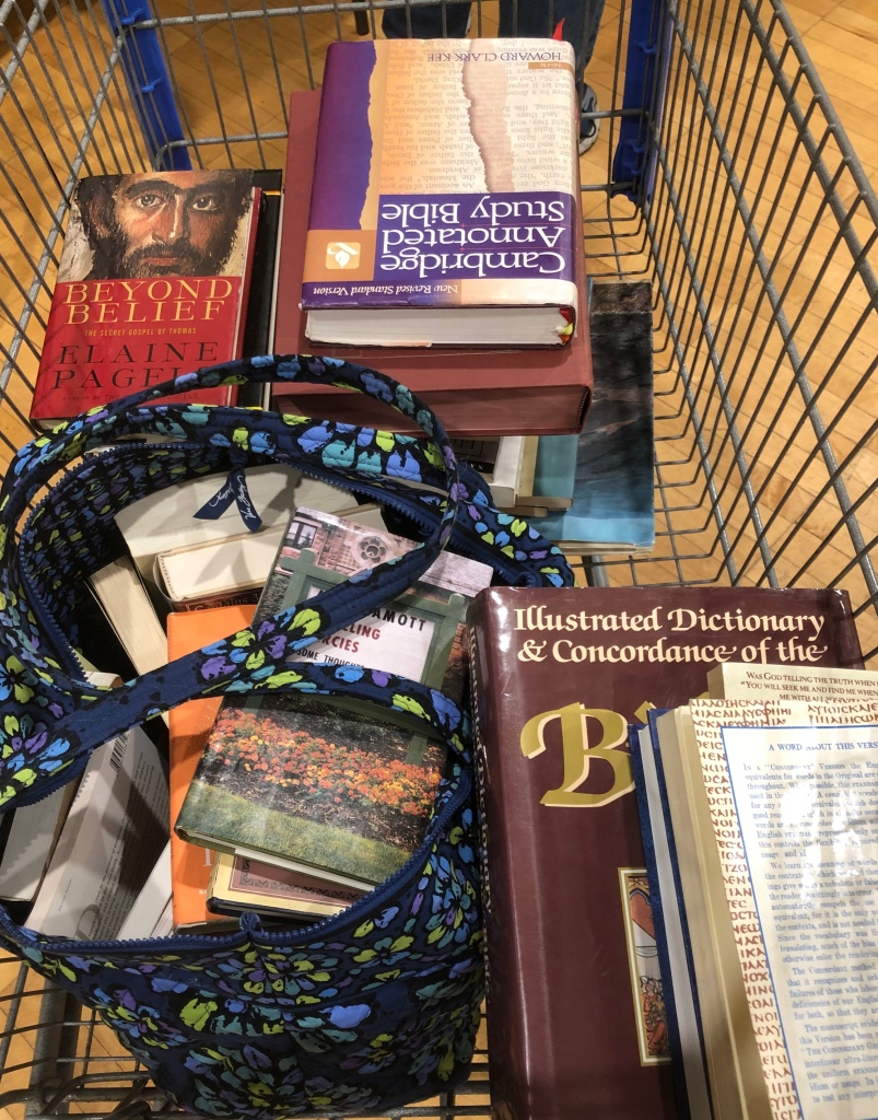 shopping cart of books