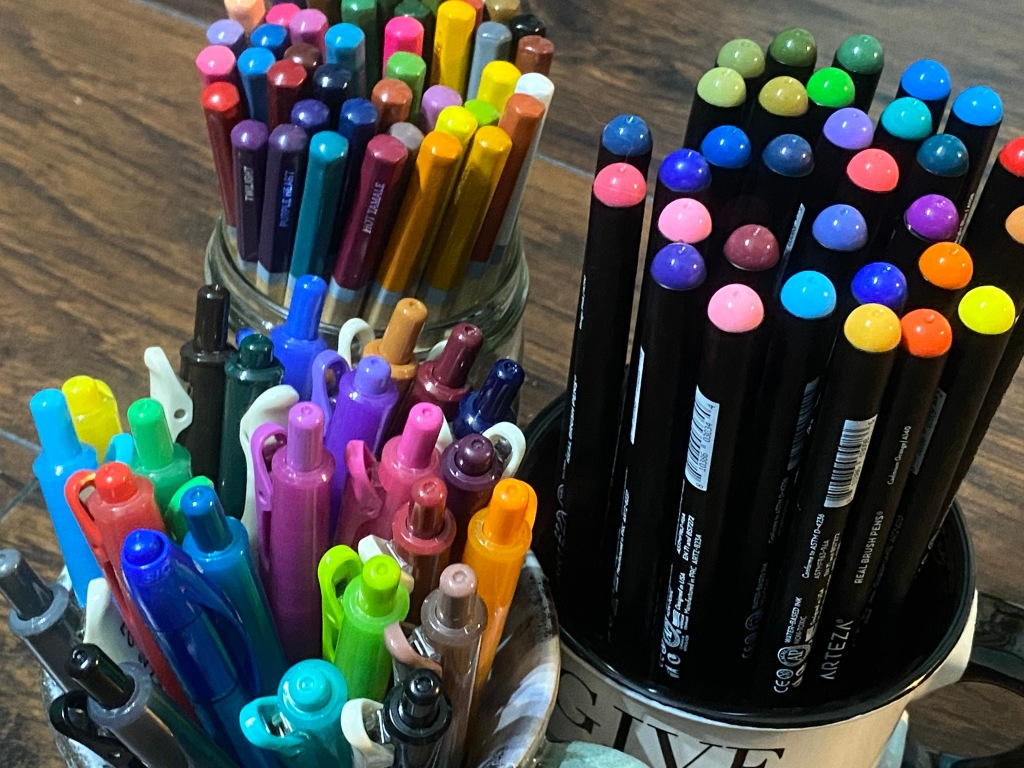 colored pens and pencils