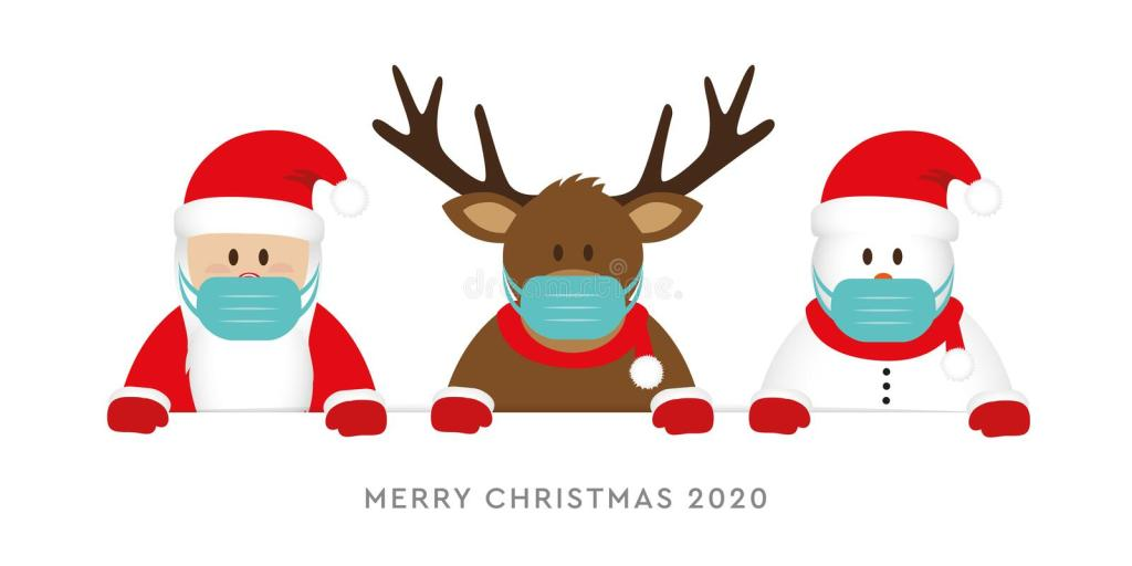 Santa wearing a mask with reindeer and snowman in masks