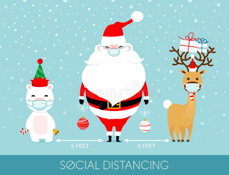 Santa social distancing and wearing a mask with polar bear and reindeer
